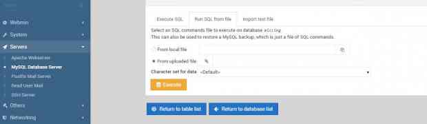 How to import database through webmin